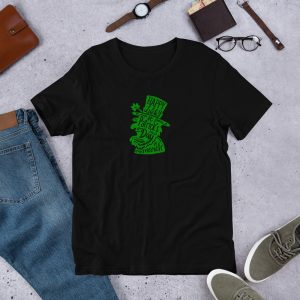 Happy Lucky St Pats mockup Front Flat Lifestyle Black