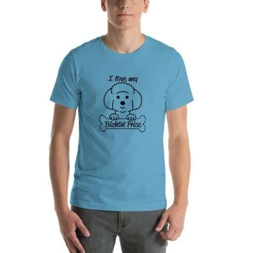 bichon frise mockup Front Mens Ocean Blue