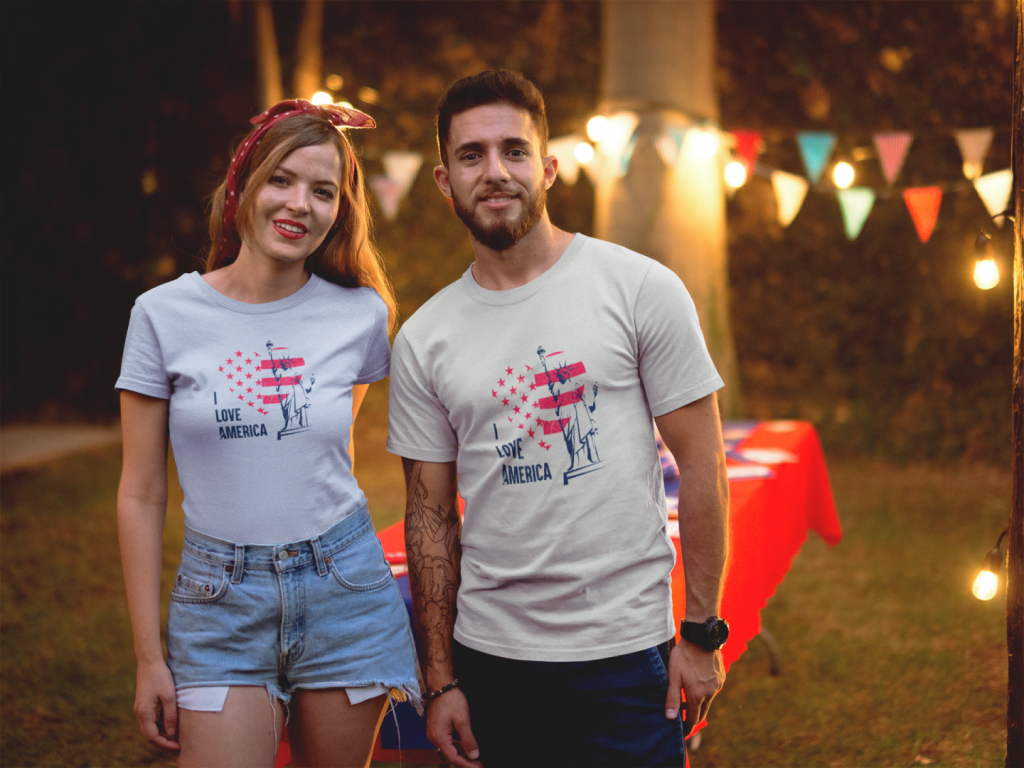 man and woman wearing t shirts mockup at a 4th of july bbq party a20828