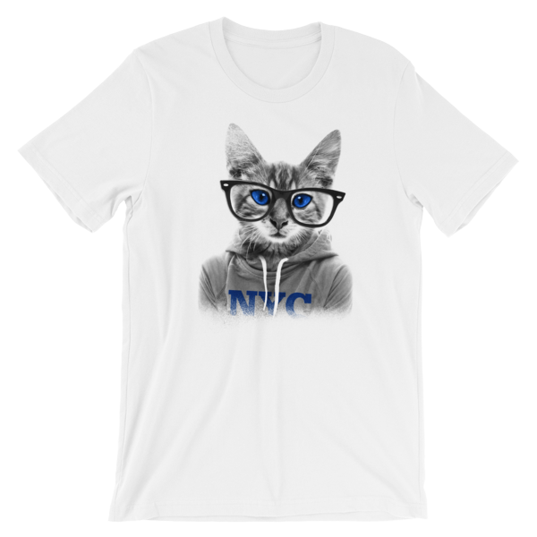NYC Cat with Glasses Short-Sleeve Unisex T-Shirt