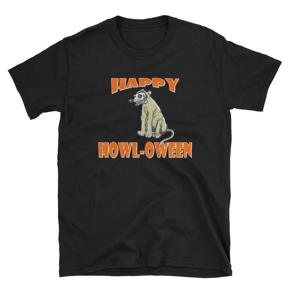 Happy Howl-oween Short-Sleeve Unisex T-Shirt with scary skeleton dog