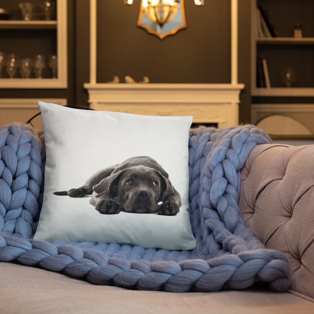 Adorable Chocolate Lab Puppy Throw Pillow