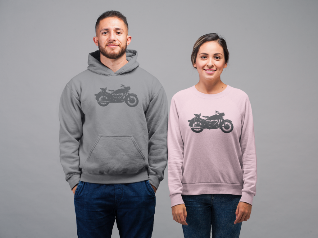 mockup featuring a man wearing a hoodie and a smiling woman with a sweatshirt 22351