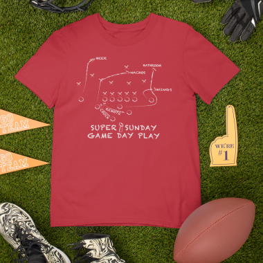 mockup of a round neck t shirt surrounded by football garments m355