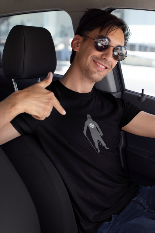 mockup of a smiling driver showing off his t shirt 26221