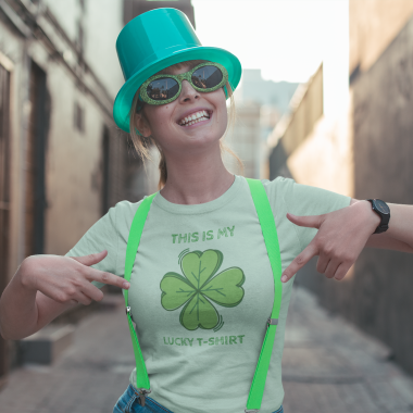 st patrick s day mockup of a woman showing of her tee 19565