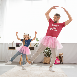 t shirt mockup featuring a father and daughter dancing ballet at home 45740 r el2