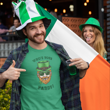 t shirt mockup featuring a joyful man celebrating st patricks day festivity 32119