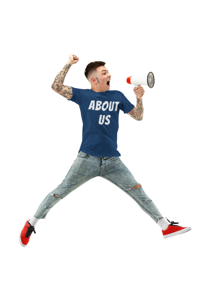 t shirt mockup featuring a man jumping with a megaphone 34388 r el2