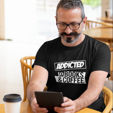 t shirt mockup featuring a man reading at a cafe 31712