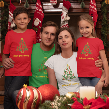 t shirt of a family of four celebrating christmas