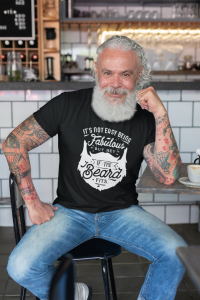 t shirt mockup of a tattooed man at a cafe 28416