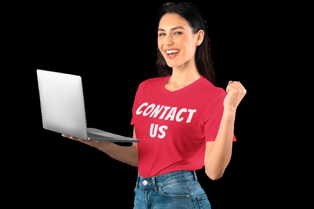t shirt mockup of a woman holding a computer in a studio 43929 r el2