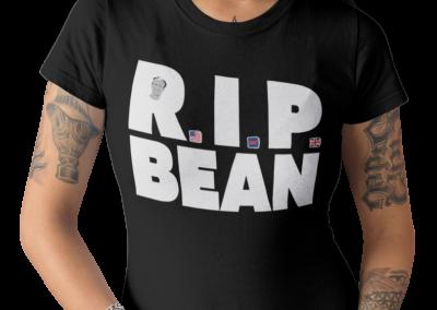 tattooed girl mockup standing while wearing RIP Bean t-shirt