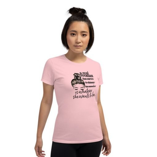 womens loose crew neck tee light pink front 60458f2786395